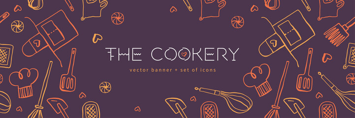 Cooking banners with hand drawing linear illustrations for restaurant. Cooking courses banner. Cooking utensils vector. Vector templates for bakery shop background. Fototapete