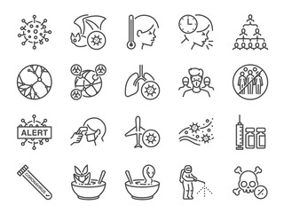 Coronavirus line icon set. Included icons as Wuhan, virus, outbreak, contagious, contagion, infection and more.