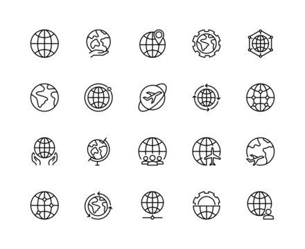 Earth globe line icons. Global planet world icon set editable strokes. Simple linear vector illustration