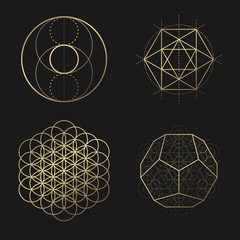 Sacred geometry golden vector design elements collection
