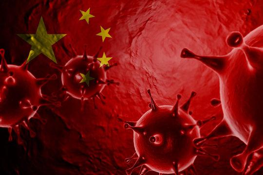 VIRUS WITH China FLAG, CORONA VIRUS, Flu coronavirus floating, micro view, pandemic virus infection, asian flu, covid, covid19, covid-19 3D RENDER.