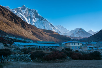 Morning view of Dingboche village with Lhotse Peak in background, Sagarmatha national park, Everest Base Camp 3 Passes Trek, Nepal