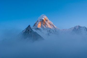 Sunset view of Ama Dablam Peak and Amphu Gyabjen from Chhukhung, Sagarmatha National Park, Everest Base Camp 3 Passes Trek, Nepal
