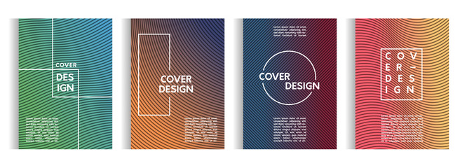 set of design templates with abstract lines on the background of a stylish gradient for posters, brochures, albums