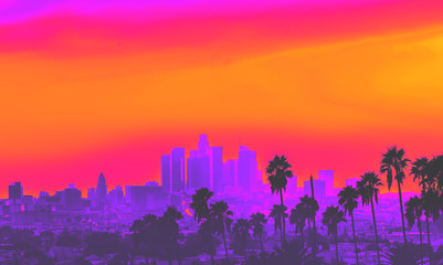 Downtown Los Angeles skyline at sunset with palm trees in the foreground synth wave style