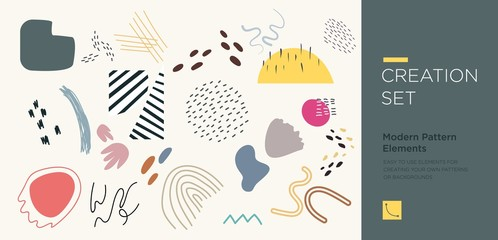 Set of abstract trendy hand drawn shapes and design elements. Pattern Creation set
