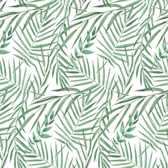 Keuken foto achterwand Tropische Bladeren Seamless pattern of exotic tropical palm trees. Watercolor Green leaves on white background.