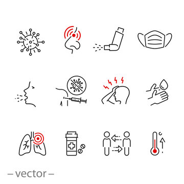 symptom cold virus icon set, infection flu, methods of protection and treatment influenza or pneumonia, thin line web symbols on white background - editable stroke vector illustration eps10