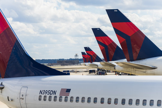 Atlanta, USA - Circa March 2016 - Delta airlines airplanes on the ground