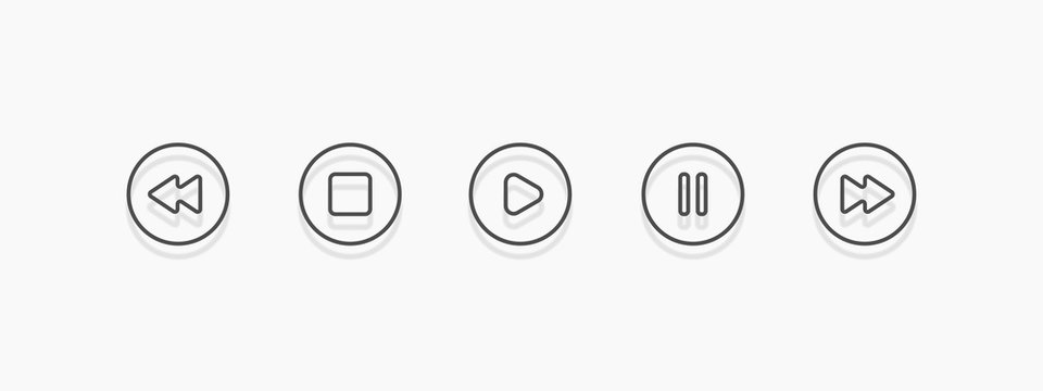 Media player icon set in trendy outline style, vector illustration