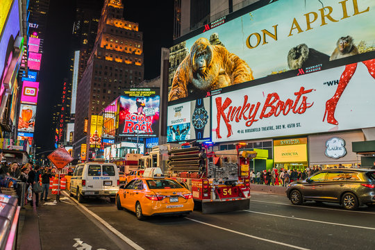 new york - circa march 2016 - cars on the times square