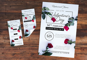 Valentine's Day Dinner Event Layout Set with Photorealistic Rose Illustrations