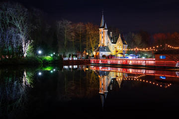 "Castle ""Kasteel Minnewater"" in Bruges (Belgium) by Night"