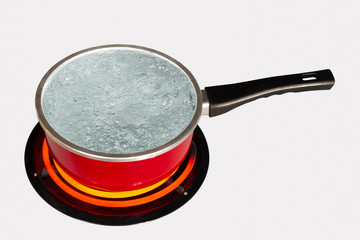 Red Pot of Boiling Water On White