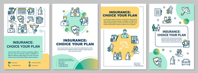 Choose insurance plan brochure template. Life guard. Flyer, booklet, leaflet print, cover design with linear icons. Vector layouts for magazines, annual reports, advertising posters
