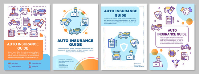 Auto insurance guide brochure template. Damaged property expense. Flyer, booklet, leaflet print, cover design with linear icons. Vector layouts for magazines, annual reports, advertising posters