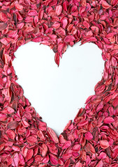 Heart shaped frame of pink and coral leaves