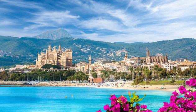 Landscape with beach and Palma de Mallorca town, Spain