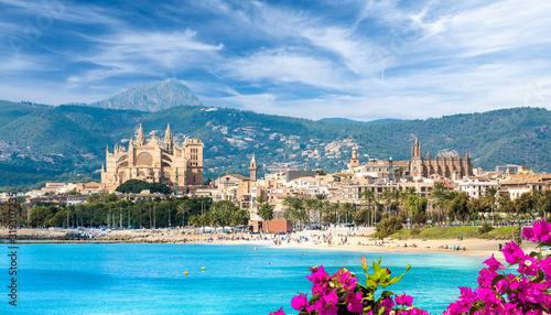 Wall mural Landscape with beach and Palma de Mallorca town, Spain