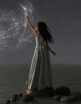 A woman reaches for the stars