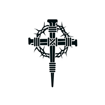 image of jesus nail cross with thorn crown isolated on white background