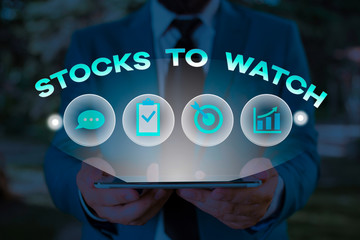 Text sign showing Stocks To Watch. Business photo showcasing being heavy broker and watch every increase decrease