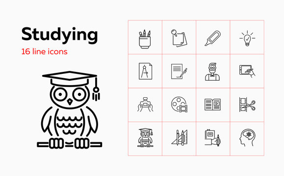 Studying line icon set. Professor, tutorial, owl. Education concept. Can be used for topics like distance learning, video content, training courses