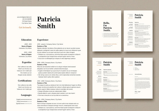 Resume and Cover Letter Layout with Tan Accents