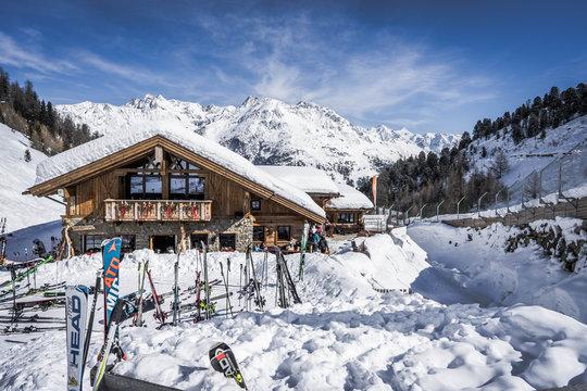 Hochsoelden, Austria - Circa March 2018 - Apres ski hut in Hochsoelden area