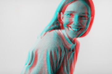 Double exposure portrait of young beutiful girl with freckles face.