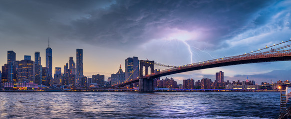 Poster New York new york city skyline travel destination at dramatic sunset over manhatten