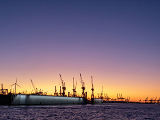 Hamburg harbor with great sunset