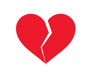 Red broken heart icon.