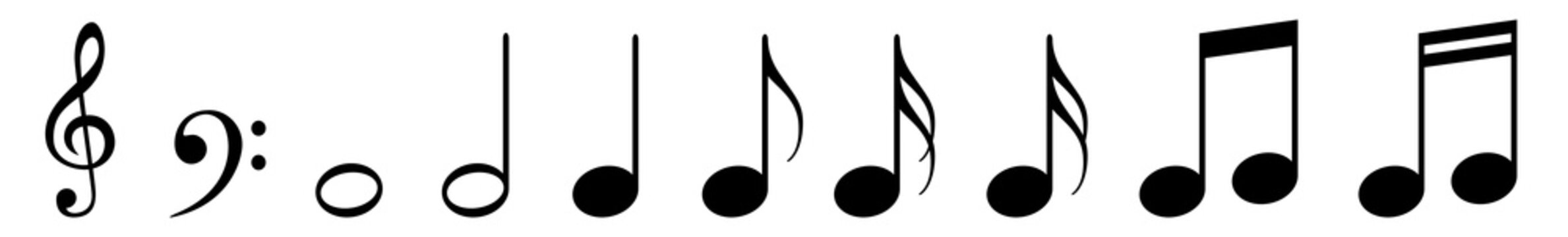 Music Notes Icon Black | Note Illustration | Clef Symbol | Sound Logo | Tone Sign | Isolated | Variations