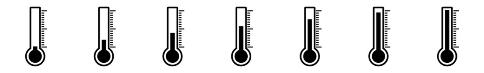 Thermometer Icon Black | Temperature Scale Symbol | Instrument Logo | Warm Cold Illustration | Weather Sign | Isolated | Variations