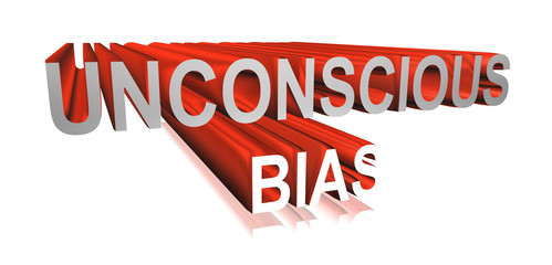 3D rendering unconscious bias word -  implicit bias concept letter design isolated on white background