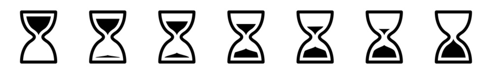 Hourglass Icon Black | Hourglasses | Time Symbol | Sandglass Logo | Clock Sign | Timer | Isolated | Variations