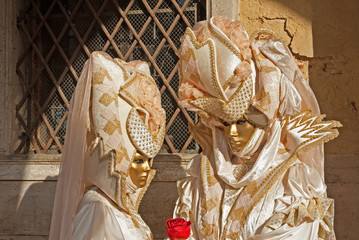 Italy, Venice colorful carnival masks.