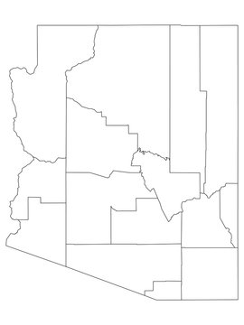 White Outline Counties Map of US State of Arizona