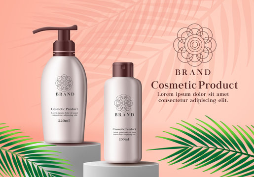 Cosmetic product vector advertising banner. Cosmetics mock up bottle of whitening lotion and sun protection elements standing in podium for commercial advertisement with green leaf element in brown.