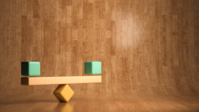blocks forming a scale on wooden background
