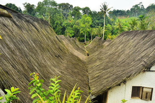a palm fiber roof of ethnic wooden house in Tasikmalaya, West Java, Indonesia