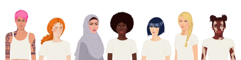 Flat realistic international women portrait on white background