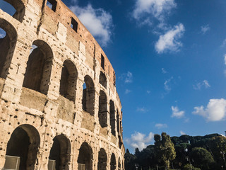 The Colosseum or Coliseum or the Flavian Amphitheatre, an oval amphitheatre in the centre of the city of Rome, Italy