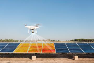 Obraz Using thermal drones in solar panel inspections. - fototapety do salonu