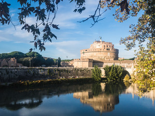 The Mausoleum of Hadrian or Castel Sant'Angelo (English: Castle of the Holy Angel) in Rome, Italy. It was initially commissioned by the Roman Emperor Hadrian as a mausoleum for his family.