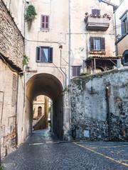 The streets of Bracciano, located on the southern shore of Lake Bracciano,  in the Italian region of Lazio, near Rome. Italy.