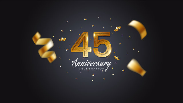45th anniversary celebration Gold numbers with dotted halftone, shadow and sparkling confetti. modern elegant design with black background. for wedding party event decoration. Editable vector EPS 10