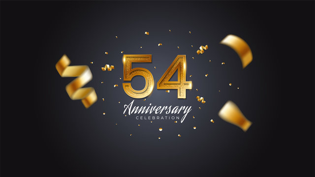 54th anniversary celebration Gold numbers with dotted halftone, shadow and sparkling confetti. modern elegant design with black background. for wedding party event decoration. Editable vector EPS 10