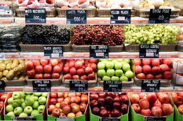 Colorful display of a variety of fresh healthy raw fruits, Bangkok, Thailand